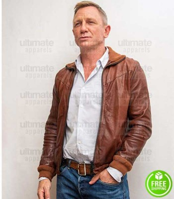 KNIVES OUT DANIEL CRAIG (BENOIT BLANC) BROWN LEATHER JACKET
