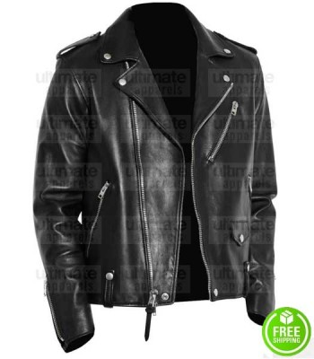 MEN'S BLACK LEATHER MOTORCYCLE JACKET ONTARIO CANADA