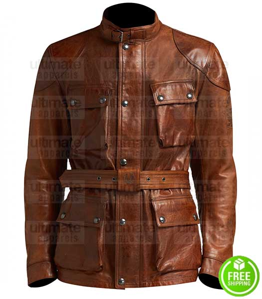 LONG BROWN LEATHER WITH BELT JACKET