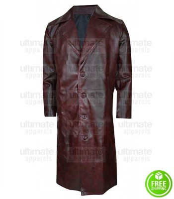 MEN'S MAROON TRENCH LEATHER COAT