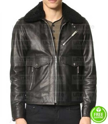 NEW BLACK FUR COLLAR LEATHER JACKET