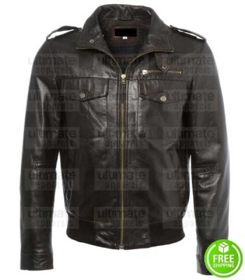 MEN'S DARK BROWN LEATHER JACKET LONDON