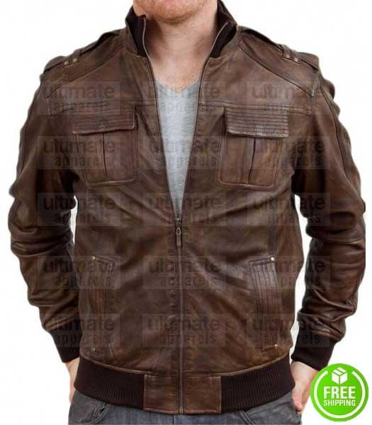 MEN'S BROWN DISTRESSED BOMBER LEATHER JACKET