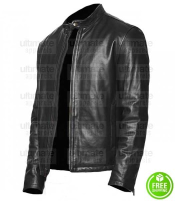 MEN'S LAMBSKIN LEATHER MOTO JACKET