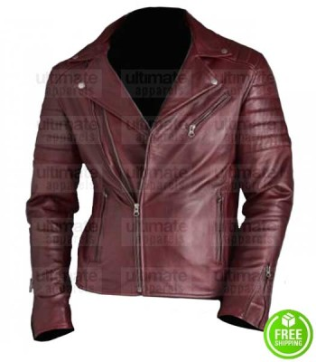 MEN'S MAROON LEATHER BIKER JACKET