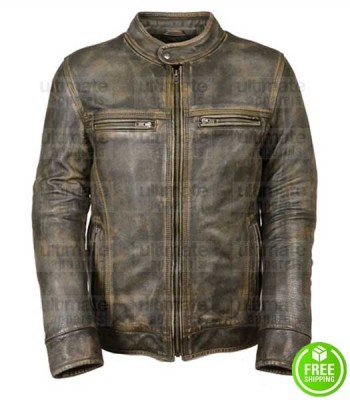 MEN'S OLIVE GREEN DISTRESSED LEATHER JACKET
