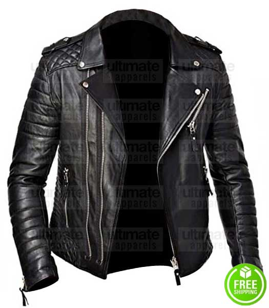 MEN'S QUILTED BLACK LEATHER BIKER JACKET
