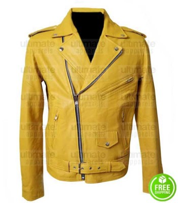 MEN'S YELLOW LEATHER MOTORCYCLE JACKET