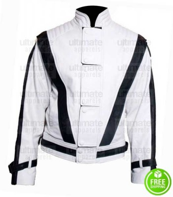 MICHAEL JACKSON THRILLER WHITE LEATHER JACKET