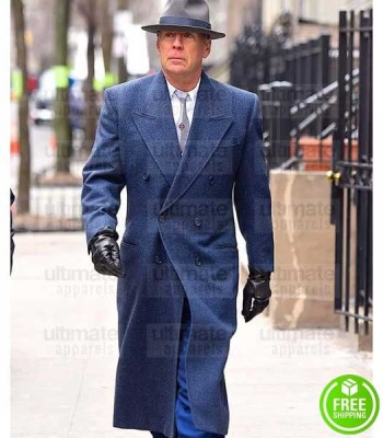 MOTHERLESS BROOKLYN BRUCE WILLIS (FRANK MINNA) BLUE WOOL COAT