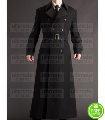 NAPOLEON STYLE FRENCH MILITARY BLACK COTTON TRENCH COAT