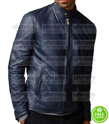 MEN'S FASHION NAVY BLUE LEATHER JACKET