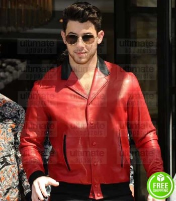 NICK JONAS RED BOMBER LEATHER JACKET