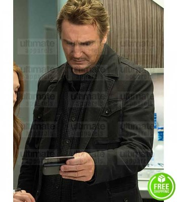 NON-STOP LIAM NEESON (BILL MARKS) BLACK COTTON JACKET COAT