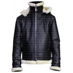 B3 SHEARLING BLACK BOMBER LEATHER JACKET