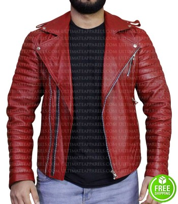 BLOOD RED BIKER LEATHER JACKET