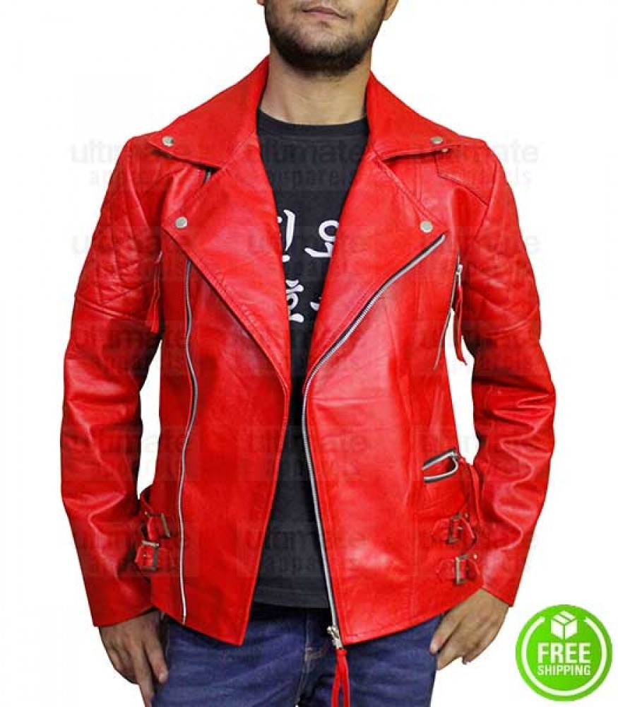MEN'S RED BIKER LEATHER JACKET