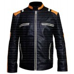 RETRO STRIPED BLACK LEATHER JACKET