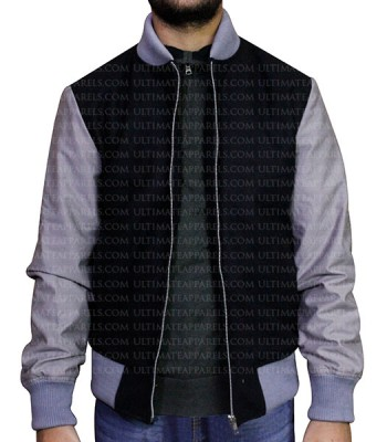 BLACK VARSITY LETTERMAN BOMBER JACKET