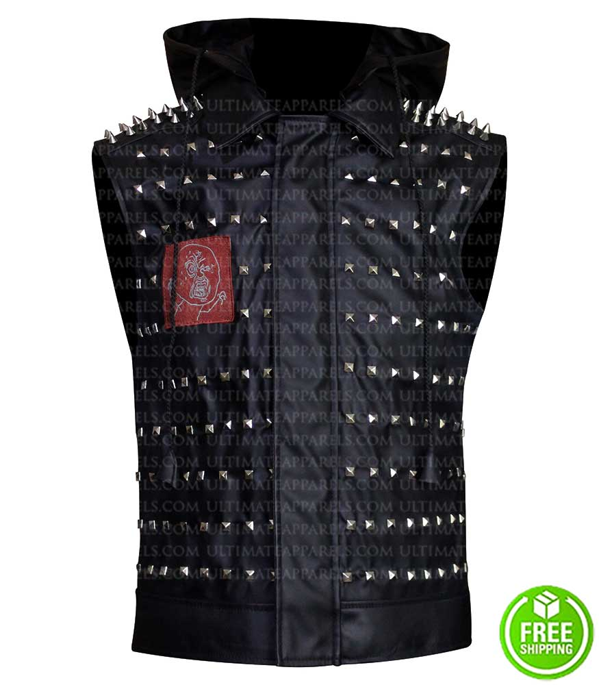 Watch Dogs 2 Wrench Studded Cosplay Black Leather Vest