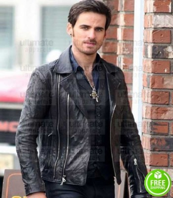 ONCE UPON A TIME COLIN O'DONOGHUE (CAPTAIN HOOK) BLACK LEATHER JACKET