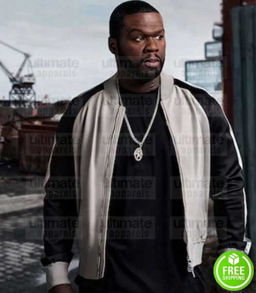 POWER 50 CENT (KANAN) BLACK AND WHITE LEATHER JACKET