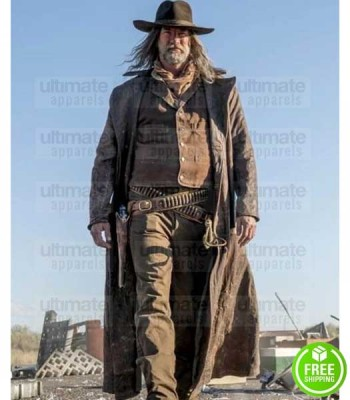 PREACHER GRAHAM MCTAVISH (THE COWBOY) DISTRESSED LEATHER COAT