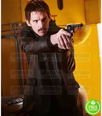 PREDESTINATION ETHAN HAWKE (THE BARKEEP) BLACK LEATHER JACKET