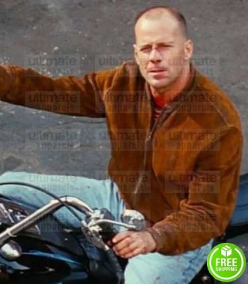 PULP FICTION BRUCE WILLIS (BUTCH COOLIDGE) BROWN SUEDE LEATHER JACKET
