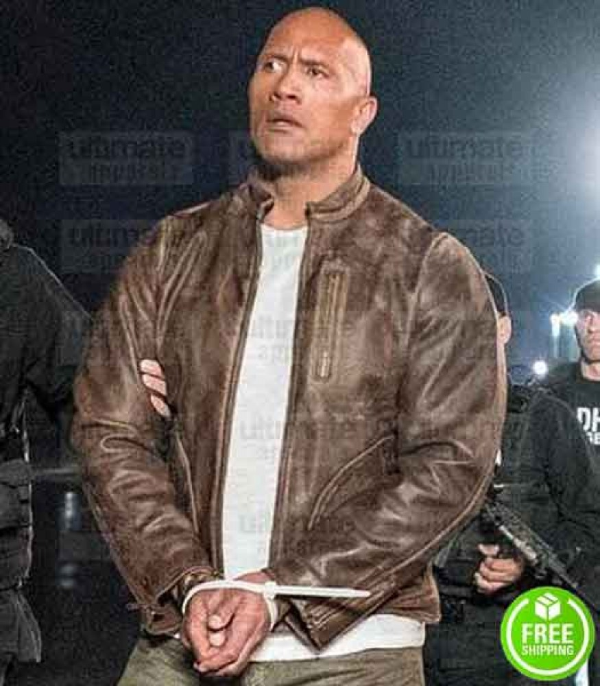 RAMPAGE DWAYNE JOHNSON (THE ROCK) BROWN DISTRESSED LEATHER JACKET