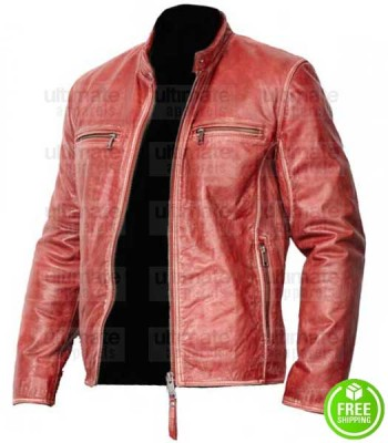 MEN'S RED DISTRESSED LEATHER JACKET