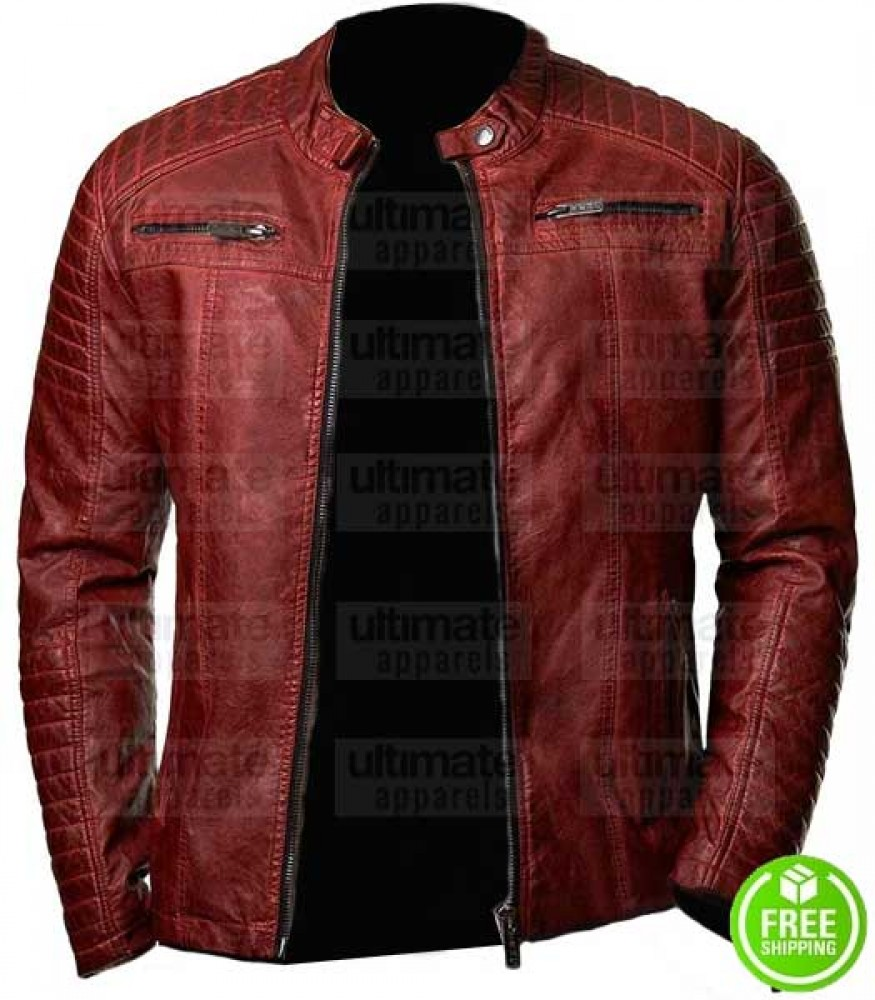 RED DISTRESSED LEATHER JACKET