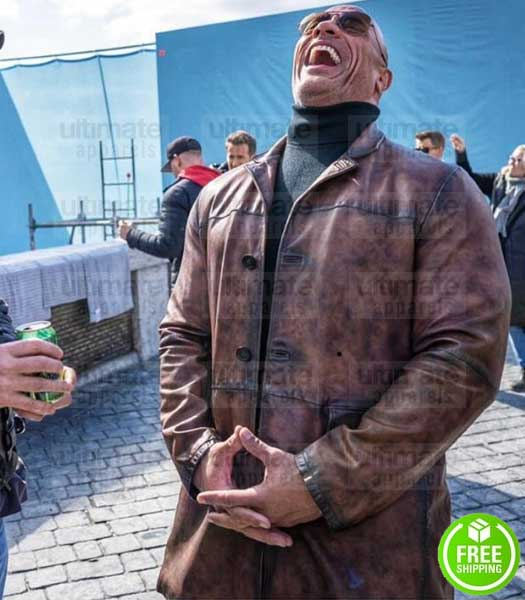 RED NOTICE DWAYNE JOHNSON BROWN DISTRESSED LEATHER COAT