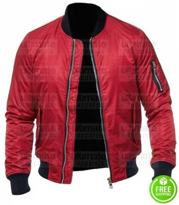 MEN'S RED SATIN BOMBER JACKET