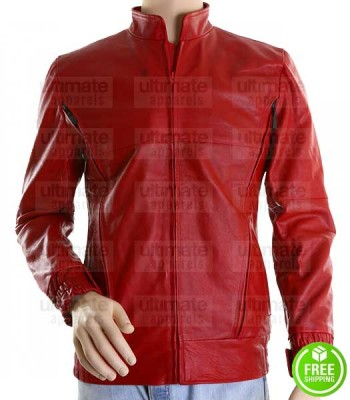 SLIM FIT RED MOTORCYCLE LEATHER JACKET