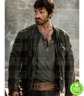 RESIDENT EVIL THE FINAL CHAPTER EOIN MACKEN (DOC) BLACK LEATHER JACKET