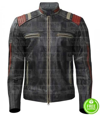 MEN'S RETRO SCORPION BLACK DISTRESSED LEATHER JACKET