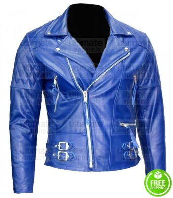 MEN'S ROYAL BLUE BIKER LEATHER JACKET
