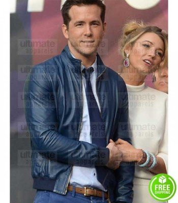 RYAN REYNOLDS BLUE BOMBER LEATHER JACKET