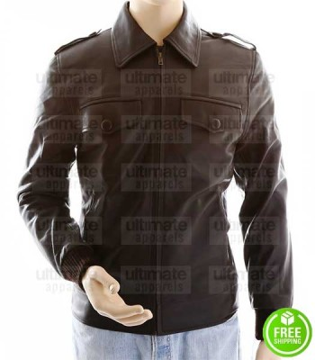 MEN'S SLIM FIT BROWN BOMBER LEATHER JACKET