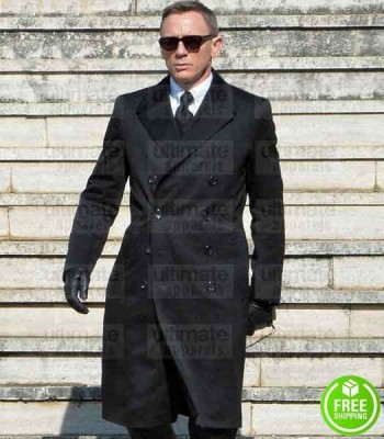 SPECTRE DANIEL CRAIG (JAMES BOND) BLACK COTTON COAT