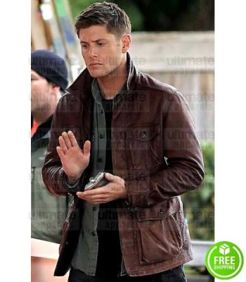 SUPERNATURAL JENSEN ACKLES (DEAN WINCHESTER) BROWN LEATHER JACKET