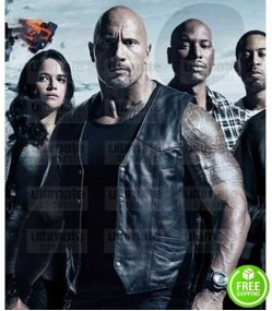 THE FATE OF THE FURIOUS DWAYNE JOHNSON (HOBBS) BLACK LEATHER VEST