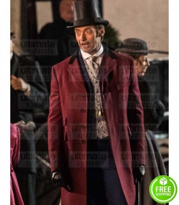 THE GREATEST SHOWMAN HUGE JACKMAN (P.T. BARNUM) RED TRENCH COAT