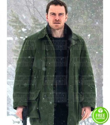 THE SNOWMAN MICHAEL FASSBENDER (HARRY HOLE) GREEN COTTON COAT
