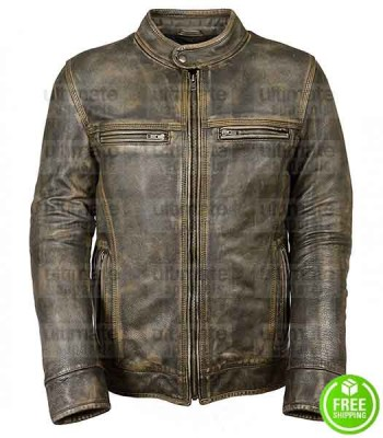 MEN'S CAFE RACER TRIPLE STITCHED GREEN DISTRESSED LEATHER JACKET