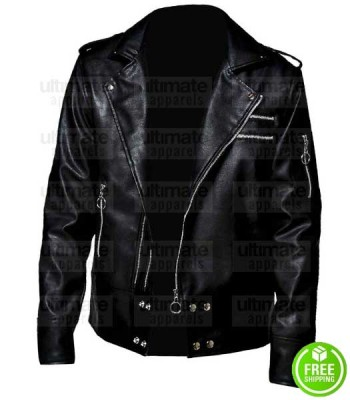 MEN'S VEGAN BLACK LEATHER BIKER JACKET