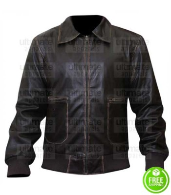 SLIM FIT VINTAGE BROWN LEATHER BOMBER JACKET