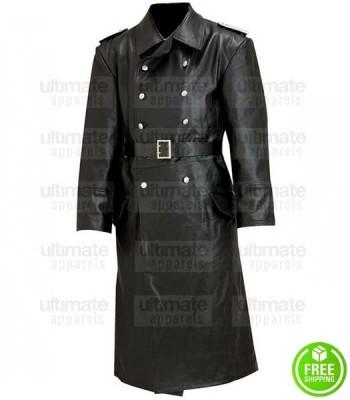 WW2 GERMAN SCHUTZSTAFFEL BLACK TRENCH COAT