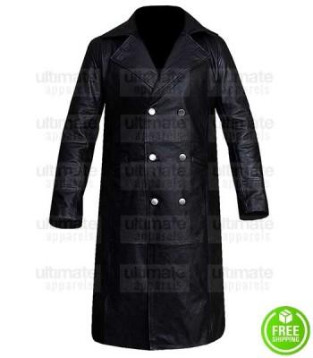 WW2 GERMAN BLACK LEATHER TRENCH COAT